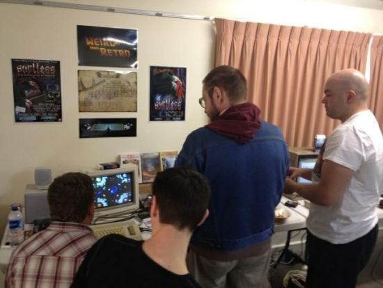 Weird and Retro area at the Amiga Users Group meet - showcasing RGCD's latest C64 releases