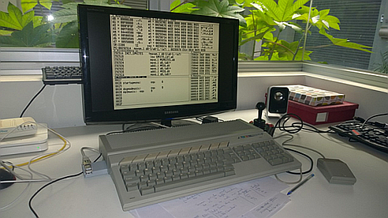 Debugging sprite routines. Note the NetUSBee sticking out of the cartridge port